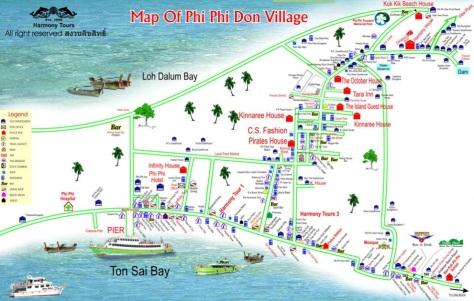 Islas Phi Phi Koh mapa pueblo